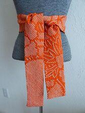 "Japanese Kimono Silk Obi Sash Belt/ Scarf Handmade SHIBORI Pattern/ 61"" L"