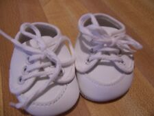 white leatherette lace up baby shoes