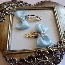 girls hair clips snap clips slides bendies  hair clip baby blue bows