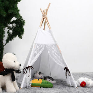 Kids Teepee Tent Cotton Canvas Photography Play House Boy Girls Foldable  L