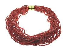 FABULOUS  RED  CORAL  MULTI  STRAND  NECKLACE   , 18K  CLASP