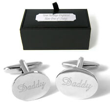 Daddy Cufflinks FREE Engraved Gift Box Personalised Wedding Birthday Present