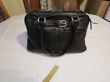 B. Makowsky black soft leather purse tote hand bag organizer computer laptop