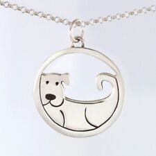 """Sterling Silver Dog Pendant with 16"""" Chain Pendant Sterling Silver Dog Necklace"""