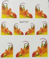 Accessoire ongles : nail art - Stickers décalcomanie - motifs fleur lys oranges