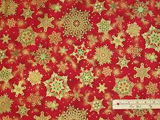 Holiday Flourish Crimson Snowflake Kaufman Fabric by the 1/2 Yard #15151-91