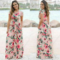 Women's Long Maxi Dress Short Sleeve Evening Party Summer Beach Sundress