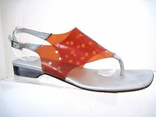 CHANEL Clear Dark Orange Flip Flops Thongs with Holes Size 39 Italy