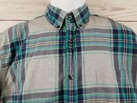 J Crew Mens Blue & Gray Plaid Button Front Long Sleeve Shirt Size Large