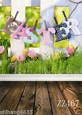 Fence Grass Easter  Vinyl Photography Backdrop Background Studio Props 5x7FT US