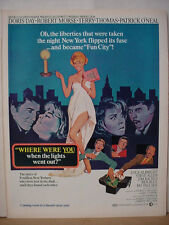 1968 Doris Day Movie Where were you when Lights went Out Vintage Print Ad 10433