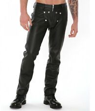 Men's Real Leather Bikers Pants Gay Leather Pants With Detachable Front Pouch