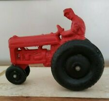 VINTAGE ORIGINAL RED AUBURN RUBBER FARM TRACTOR-BALLOON TIRES