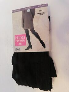 NEW Hanes Her Way Textured Size Tall  Color Black Control Top Tights