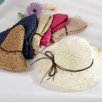 Straw Sun Hats Women Panama Wide Brim Caps UV Protection Weave Chapeu Feminino