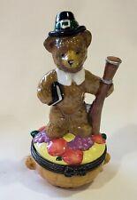 November Midwest of Cannon Falls Porcelain Hinged Box Calendar Bear Pilgrim Hat