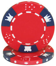 """25 ct Red/Blue """"Crown & Dice"""" Series 14 Grams Non-Denominated Blank Poker Chips"""