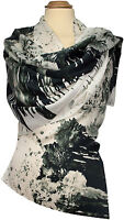Schal 100% Seide Satin Floral Schwarz Weiß 59 x 180 scarf silk soie écharpe