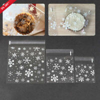 100x XMAS Snow Shape Cellophane Cookie Sweet Candy Biscuit Gift Bags Party Favor