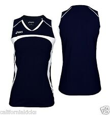 ASICS Women's Ace Sleeveless Volleyball Jersey sz L Large Navy Blue White Pro