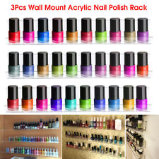 3Pcs Acrylic Clear Display Shelves Nail Polish Organiser Rack Holder Wall