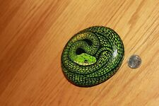 Hand Painted Rock OOAK Grass Snake 3D Realistic Garden Decor River Outdoor Art