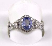 Oval Blue Sapphire & Diamond Halo Solitaire Ring 14k White Gold 1.77Ct
