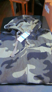 NWT CLUB ROOM MENS HOODED ZIP FRONT THIN THERMAL SHIRT - CAMO CAMOFLAUGE - XL