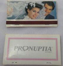 2 vintage Pronuptia de Paris matchbooks double wide French advertising wedding
