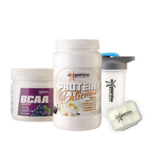 Protein Delicious Vanilla 1.25kg & BCAA Grape 400g + Free Shaker and Pill Box