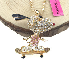 Hot Charm Betsey Johnson Pendant Jewelry Skateboarding dog Rhinestone Necklace