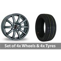 "4 x 15"" Wolfrace Milano Titanium Alloy Wheel Rims and Tyres -  195/50/15"