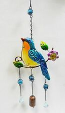 """Song Bird Bell Wind Chime - Sun Catcher Fused Glass, Marbles, Faceted Beads  21"""""""
