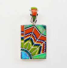 BEST MULTICOLOR OPAL SPINY TURQUOISE INLAY .925 STERLING SILVER SUNRAYS PENDANT