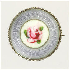 Norwegian Silver Enamel Rose Lace Pin - MARIUS HAMMER