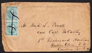1862 US Confederate States Cover #7 Vert Pair to 1st Richmond Howitzer Civil War