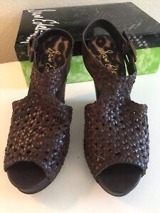New In Box:  Sam Edelman Women's Dark Brown Woven High Heel Wedge Sandals - 8 M