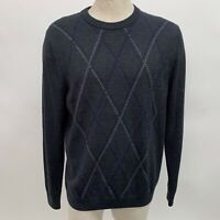 Nordstrom Mens Sweater Large Gray Purple 100% Extra Fine Merino Wool Crew Neck