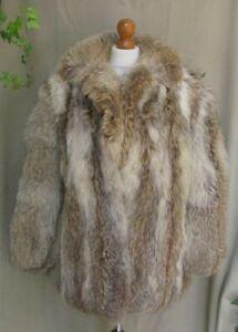 Real Fur Coyote Grey beige Brown Vintage jacket coat size small   UK 8-10