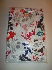 ICU Womens 4 Pocket Wide V Neck Water Lilly Print Scrub Top Size M