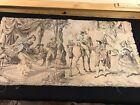 "Vintage Antique Belgium Woven Tapestry Spanish Street Scene Horse 35""17.5"""