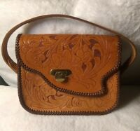 1970's Custom Handcrafted Tooled Leather Purse Floral Pattern
