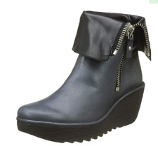 FLY London YEX Grace Blue with Black Leather  Wedge Boots  EU 40  US 9-9.5