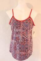 NEW Womens Spaghetti Strap Tank Top Medium Red Blue Shirt Cami Summer SOFT  NWT