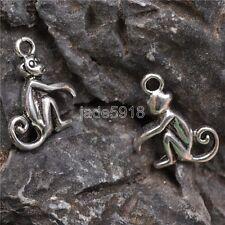 30pcs  Tibet silver  monkey Charm Pendant beaded Jewelry Findings 12x27mm