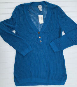 Chico's Isle Mesh Tunic Sweater V Neck Size 2 Large 12 Teal Blue NEW