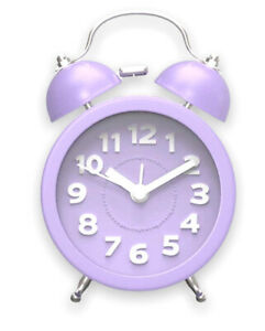 JIEZ Analogue Alarm Clock with Backlight Battery Operated Travel Clock 3D Purple