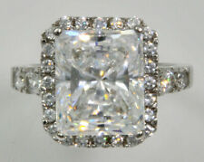 Simulant Sterling Silver Size 7 Radiant Cut Top Cz Imitation Moissanite