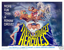 THE THREE STOOGES MEET HERCULES LOBBY TITLE CARD POSTER 1962 LARRY MOE CURLY