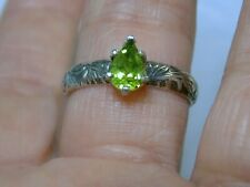 GREEN  PERIDOT RING SIZE 8.5 STERLING SILVER NATURAL ANTIQUE USA MADE